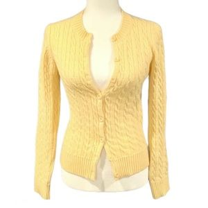 MODA International Yellow Cable Knit Cardigan